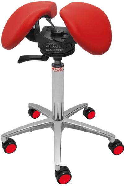 Billede af Salli SwingFit sadelstol med rødt sæde.